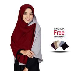 Jilbab 2 Warna Zannah Hijab Khimar Syari Polos Jumbo Kerudung Kombinasi Kanan Kiri Atasan Dress Muslim Terbaru Paling Murah Terlaris Jaman Now Kerudung Segi4 Warna Abu Marun Free Inner Rajut Anti Pusing