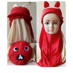 jilbab anak karakter boneka panda lucu
