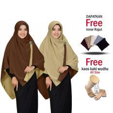 Jilbab Bolak Balik Segi4 2 in 1 Jilbab 2 Warna Zannah Hijab Jilbab Instan Premium Grade A untuk Fashion Muslimah Fashion Anak Perempuan Muslim Terbaru Modern Model Sekarang Syari Jumbo Besar Termurah Free Inner Rajut dan Kaos Kaki Wudhu