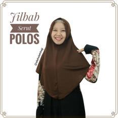 Jilbab Hijab Khimar Instan Serut Jokowi Polos Oleh Oleh Haji dan Umroh - Coklat Tua