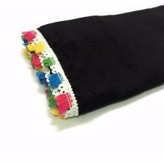 Jual Jilbab Hijab Segiempat Segi Empat Katun Square Tassel Black Katunq Original