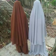 Jilbab Instan Jumbo XXXL Panjang Sebetis Plus Cadar Tali