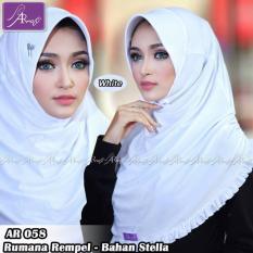 Jilbab instan Rumana Rempel Arrafi (warna White) - AR58p - Hijab Kerudung Khimar