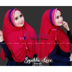 jilbab instan Syahla Lace (warna Merah) - hijab kerudung pashmina pasmina shakina best seller gamis pashtan original