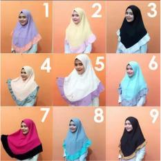 Jilbab Khimar Instan Dua Warna Kombinasi Hijab Kerudung