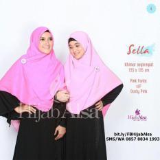 Jilbab Segi Empat Bolak Balik Hijab Alsa 004 Pink Fanta & Dusty Pink