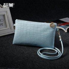 Jual Beli Online Jimei Wanita Shoulder Tas Baru Ladies Shoulder Bag Pu Leather Paket Tas Ponsel Biru