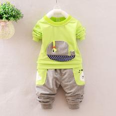 Jingdong Versi Korea dari Musim Semi atau Musim Gugur Baru Bayi atau Celana Panjang (Ikan Paus Set Hijau Neon)