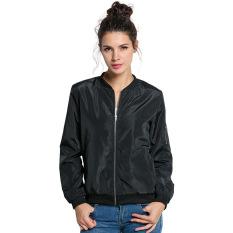 Jual Sajak Perempuan 24 Ritsleting Jaket Lengan Baju Panjang Hitam Online Di Tiongkok