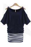 Beli Jingle Wanita Tanpa Bahu Lengan Pendek Striped Jahitan Gaun Mini S Xxl Navy Blue Intl Catwalk Asli