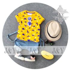 Jny Baju Anak Set Kaos Dan Celana Jeans Suspender Kuning Jny Diskon 30