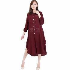 Promo Jo Nic Ashley Dress Wanita Tunik Lengan Pita Maroon Murah