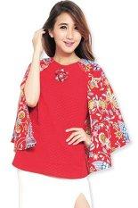 JO & NIC Keira Batwing Cape Batik Blouse AllSize – Blus Batik – Merah