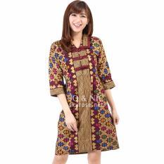 Beli Jo Nic Morina Prodo Batik Dress Wanita Allsize Maroon Online Terpercaya