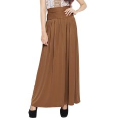 JO & NIC Pleated Flare Maxi Skirt - Rok Hijab - Fit to Big Size – Caramel