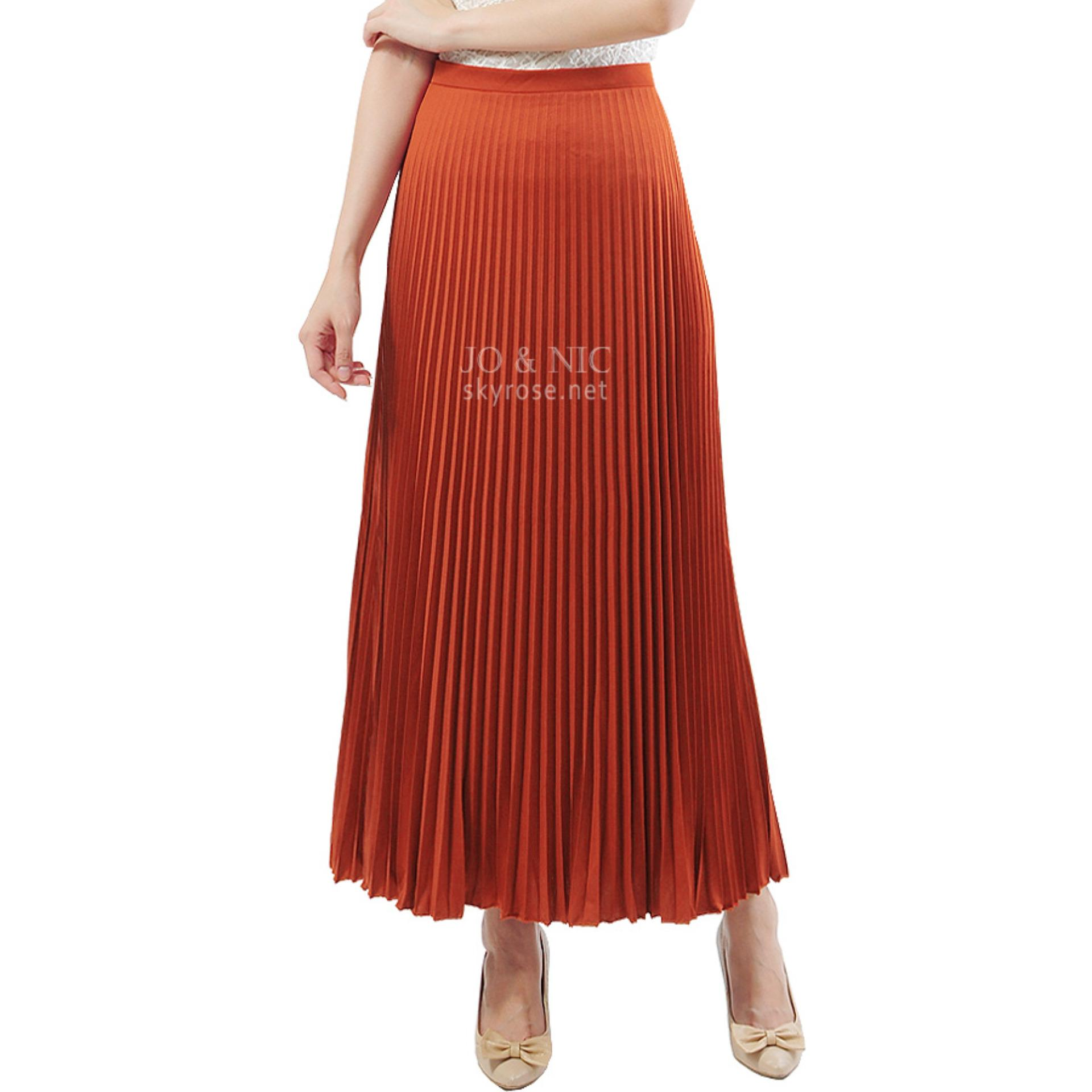 Jo Nic A Line Maxi Skirt Rok Hijab Fit To Xl Navy Daftar Harga Wrapped Long Btnl70254 Pleated Skirts Panjang Lipit Orange