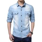 Beli Jo Dalam Pria Keren Lengan Panjang Kerah Yg Terlipat Ke Bawah Kerah Kemeja Jeans Jaket Tipis Biru International Oem Murah