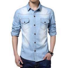 Promo Toko Jo Dalam Pria Keren Lengan Panjang Kerah Yg Terlipat Ke Bawah Kerah Kemeja Jeans Jaket Tipis Biru International