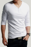 Beli Jo Dalam Pria Dalam English Bergaya Likra Leher V Lengan Panjang T Shirt Kaos Atasan Jubah Kancing Putih Secara Angsuran