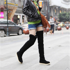 Diskon Jo In Winter Women Anti Skidding Snow Boots Flat Bottom High Knee Boots Black