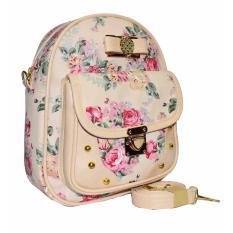 Harga Tas Wanita Taswanita Tas Selempang Tas Selempang Wanita Slingbag Tas 2In1 Backpack Tas Gemblok Tas Ransel Bunga Motif Bunga 2In1 Rose 02 Cream Branded