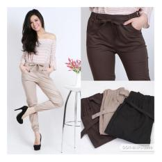 JOGGER PANTS COTTON STRETCH FOR LADIES (celana jogger katun wanita) - BLACK