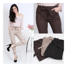 JOGGER PANTS COTTON STRETCH FOR LADIES (celana jogger katun wanita) - BROWN