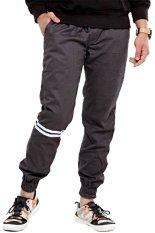 Model Jogger Pants Strip Putih Abu Terbaru