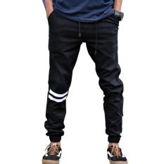 Jogger Pants Strip Putih - Hitam