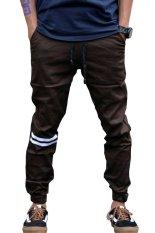 Jual Beli Jogger Pants Stripe Putih Big Size 34 Coklat Baru Jawa Barat
