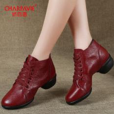 CHARPAVIE Sepatu Menari Wanita Kulit Asli Pergelangan Kaki Tinggi (Merah single-layer) (