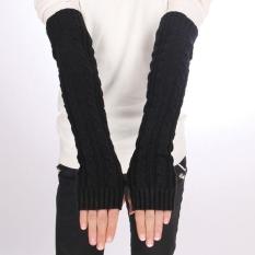 Bergabung Sarung Tangan Penghangat Panjang Rajutan Setengah Warmer Glove untuk Wanita-Intl