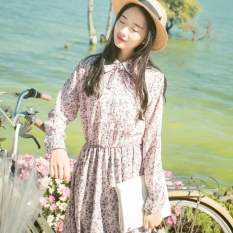 JOJO 2017 Spring Gaya Baru Sweet Kecil Segar Floral Chiffon Dress Senfemale Bergaya Jepang Efek Pelangsingan Bottoming Gaun Lipit (Blueat Akhir) -Intl