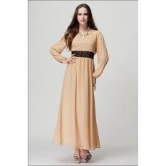 JOJO Baru Fashion Style Lady Muslim Wanita Colorful Muslem Gaun Islamstyle Wanita Muslim Aprikot-Intl