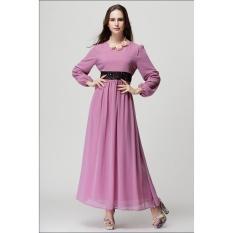JOJO Baru Fashion Style Lady Muslim Wanita Colorful Muslem Gaun Islamstyle Wanita Muslim Ungu-Intl