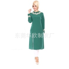 JOJO Turkey Muslim Gown Womens Shirt Dress Dress Down The Middleeast(Green)