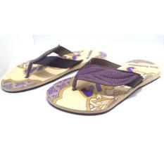 Joker Sandal Jepit Batik Khas jogja Model A2 Daun - Ungu