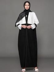 JollyChic Wanita Abaya Coat Warna Blok Sederhana Desain Hitam & PUTIH-Intl