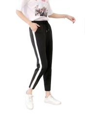 Jual Beli Jollychic Women S Pants Striped Color Block Casual Sport Harem Pants Black Intl