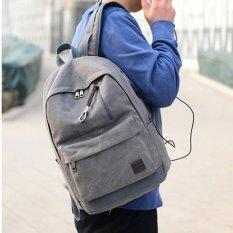 JOOX Mens Fashion Busana Tas Punggung Kanvas Olahraga Mahasiswa Travelbag (Abu-abu)-Intl