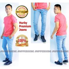 Toko Jopperside Hurby Celana Jeans Denim Premium Pria Biru Muda Un Branded Jawa Barat