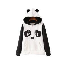 JOY Eropa dan Amerika Serikat Fashion Panda Lengan Panjang hoodie Coat T-shirt Putih-Intl