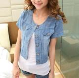 Spesifikasi Joy Korea Mode Korea Topi Pendek Koboi Kecil Selendang Coat Blue Intl Online