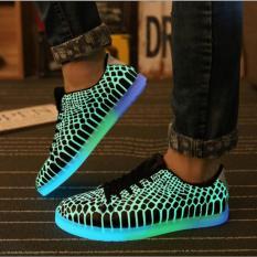Ulasan Lengkap Joy Korea Korean Fashion Led Light All Match Fluorescent Snakeskin Shoes Leisure Black Intl