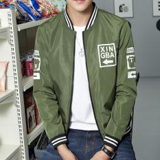 JOY Korea Mode Korea Topi Pria Rekreasi Olahraga Jaket Mantel Hijau Tentara-Internasional