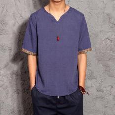 Top 10 Joy Pria Fashion Loose Flax T Shirt Lengan Pendek Intl Online