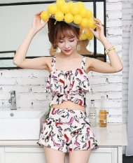 JOY Korea Mode Korea Topi Wanita Baru Split Swimsuit Dua Set-Intl