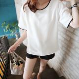 Diskon Produk Joy Korea Korean Fashion Kebahagiaan Wanita Versi Korea Yang Baru Sahaja T Shirt Longgar Putih International