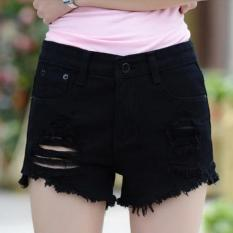 JOY Women's Fashion Apakah Tipis Lubang Di Jeans Hitam-Intl