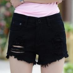 JOY Korea Mode Korea Topi Wanita Fashion Apakah Tipis Lubang Di Jeans Hitam-Intl